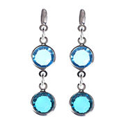 Gloria Vanderbilt® Silver-Tone Blue Linear Drop Earrings