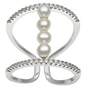 3-4Mm Cultured Freshwater Button Pearl And Lab Created Cubic Zirconia Sterling Silver Ring