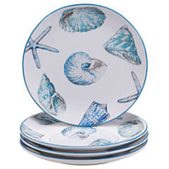 Certified International Sea Finds Set of 4 Dinner Plates