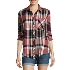 Arizona Long-Sleeve Boyfriend Plaid Shirt- Juniors
