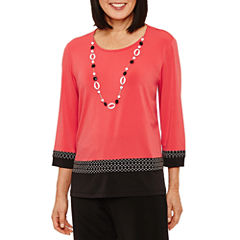 Alfred Dunner Saratoga Springs 3/4 Sleeve Texture Border T-Shirt
