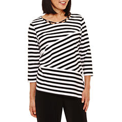 Alfred Dunner Closet Case 3/4 Sleeve Crew Neck T-Shirt-Womens