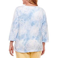 Alfred Dunner Blue Lagoon 3/4 Sleeve Split Crew Neck T-Shirt-Womens Plus