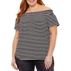 Liz Claiborne Short Sleeve Off The Shoulder Top-Plus