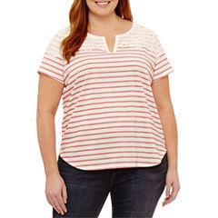 Liz Claiborne Short Sleeve V Neck T-Shirt-Plus