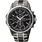 Seiko® Mens Black Chronograph Watch SSC143