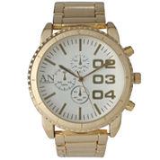 Olivia Pratt Mens White Dial Gold-Tone Bracelet Watch 2197Ggoldwhite