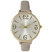 Olivia Pratt Womens Goldtone Bezel Silvertone Dial Gray Petite Leather Watch 26357Gray