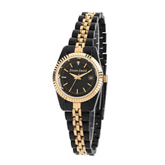 Personalized Womens Black And Gold Tone Diamond Accent Bracelet Watch