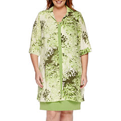 Maya Brooke 3/4-Sleeve Floral Duster Jacket and Dress - Plus