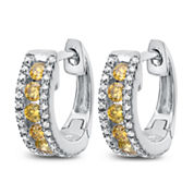 1/2 White And Color Enhanced Yellow Diamond White Gold Hoop Earring