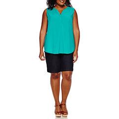 St. John's Bay® Crossback Tank Top or Twill Bermuda Shorts - Plus