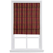 Custom Cordless Large-Fold Imperial Plaid Lined Roman Shade