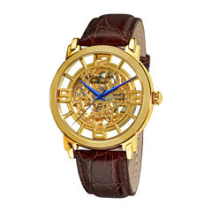 Stührling® Original Mens Gold-Tone Dial Croc-Look Strap Skeleton Automatic Watch