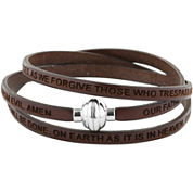 Stainless Steel Inspirational Leather Bracelet