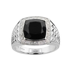 Mens 1/3 C.T. T.W. Diamond & Onyx Ring