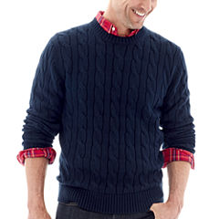 St. John's Bay® Cable-Knit Crewneck Sweater