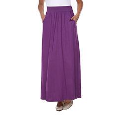 White Mark Elastic Waist Maxi Skirt