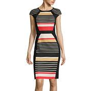 RN Studio by Ronni Nicole Cap-Sleeve Striped Sheath Dress