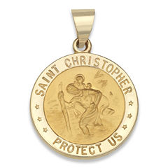 14K Yellow Gold Saint Christopher Medal Charm Pendant