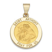 14K Yellow Gold Saint Anthony Medal Charm Pendant