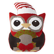 North Pole Trading Co. Shaped Owl With Hat & Wreath Decorative Pillow