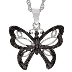 Womens Diamond Accent Black Diamond Sterling Silver Pendant Necklace
