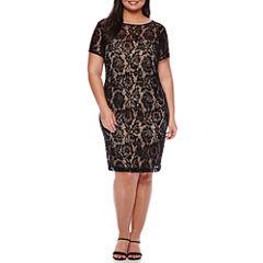 Scarlett Sleeveless Lace Sheath Dress - Plus