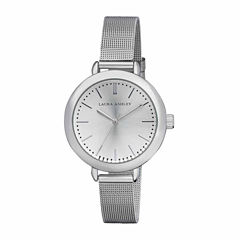 Laura Ashley Mesh Womens Silver Tone Strap Watch-La31026ss