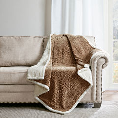 Madison Park Camilla Textured Plush Throw