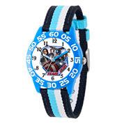 Marvel Boys Blue And White Captain America Civil War Time Teacher Plastic Strap Watch W003125