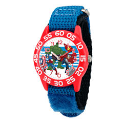Marvel Boys Blue And Red Avengers Time Teacher Plastic Strap Watch W003235