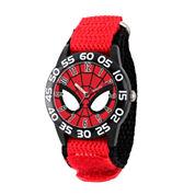 Marvel Boys Red Spiderman Time Teacher Plastic Strap Watch W003252