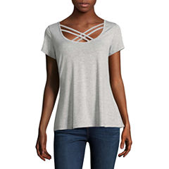Self Esteem Short Sleeve Scoop Neck T-Shirt-Womens Juniors
