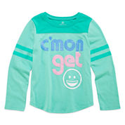 Okie Dokie® Long-Sleeve Football Tee - Preschool Girls 4-6x