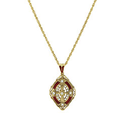 Symbols Of Faith Religious Jewelry Womens Clear Crystal Pendant Necklace