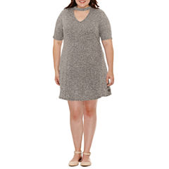 Arizona Short Sleeve Fit & Flare Dress-Juniors Plus