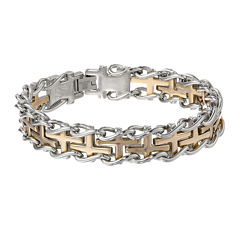Mens Stainless Steel and Gold Ion Plated Cross Link Bracelet