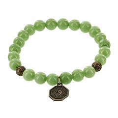 Dee Berkley Mens Genuine Green Agate Bead Spiderweb Stretch Bracelet