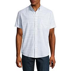 Arizona Short Sleeve Stripe Button-Front Shirt