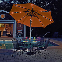 Mirage Fiesta 9-ft Market Solar LED Auto-Tilt Patio Umbrella in Champagne Olefin