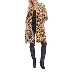 White Mark Animal Print Poncho