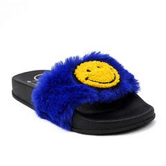 Olivia Miller Sab Fur Girls Slide Sandals - Little Kids