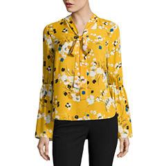 Worthington Long Sleeve V Neck Georgette Floral Blouse
