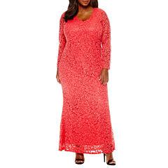 Blu Sage Long-Sleeve Lace Sequin Gown - Plus