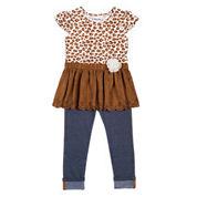 Little Lass® 2-pc. Suede Cheetah Set - Toddler Girls 2t-4t