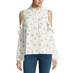 i jeans by Buffalo Long Sleeve Ruffle Cold Shoulder Top