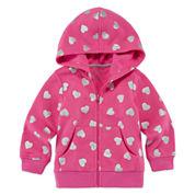 Okie Dokie® Black Allover Dot Fleece Hoodie - Baby Girls newborn-24m
