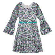 Speechless® Bell-Sleeve Printed Lace Skater Dress - Girls