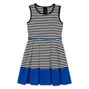 Total Girl® Sleeveless Stripe Cobalt Border Belted Skater Dress - Girls 7-16 and Plus